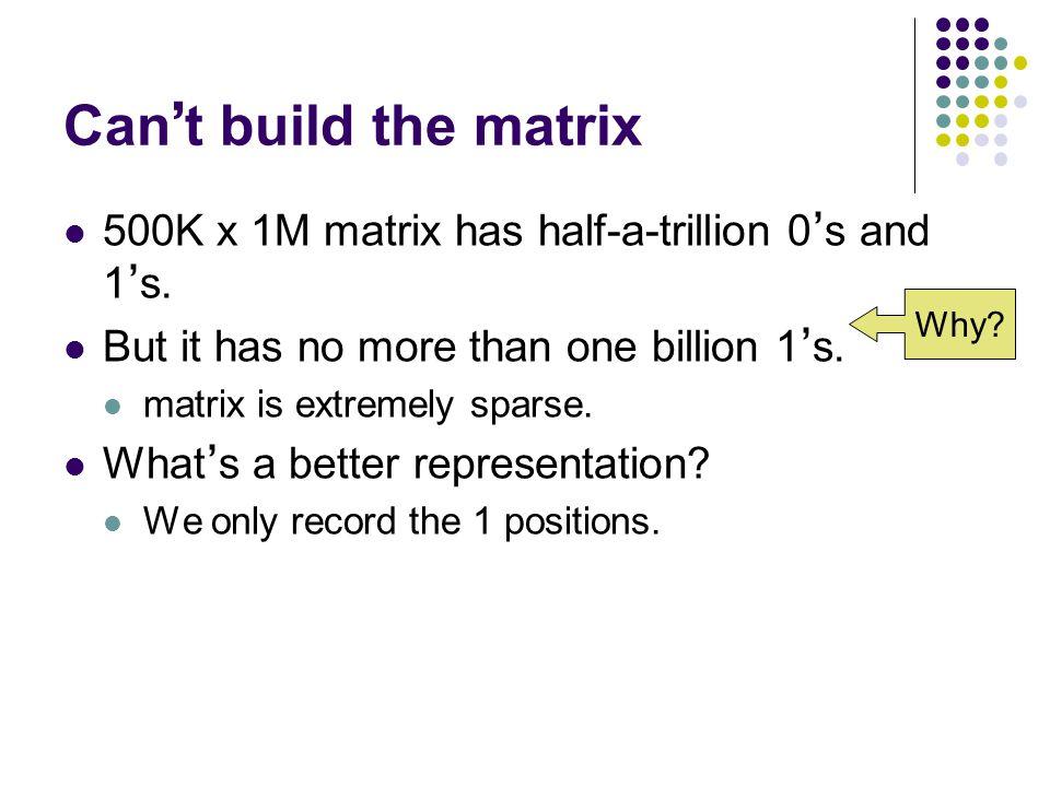 Can ' t build the matrix 500K x 1M matrix has half-a-trillion 0 ' s and 1 ' s.