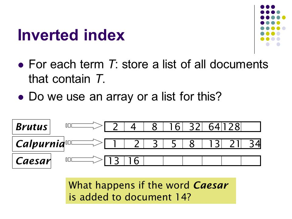 Inverted index For each term T: store a list of all documents that contain T.