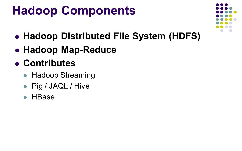 Hadoop Components Hadoop Distributed File System (HDFS) Hadoop Map-Reduce Contributes Hadoop Streaming Pig / JAQL / Hive HBase