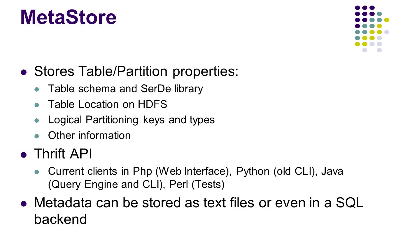 MetaStore Stores Table/Partition properties: Table schema and SerDe library Table Location on HDFS Logical Partitioning keys and types Other informati