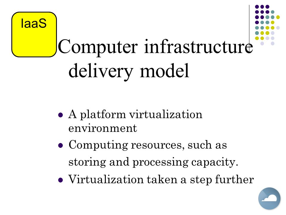 Computer infrastructure delivery model A platform virtualization environment Computing resources, such as storing and processing capacity.