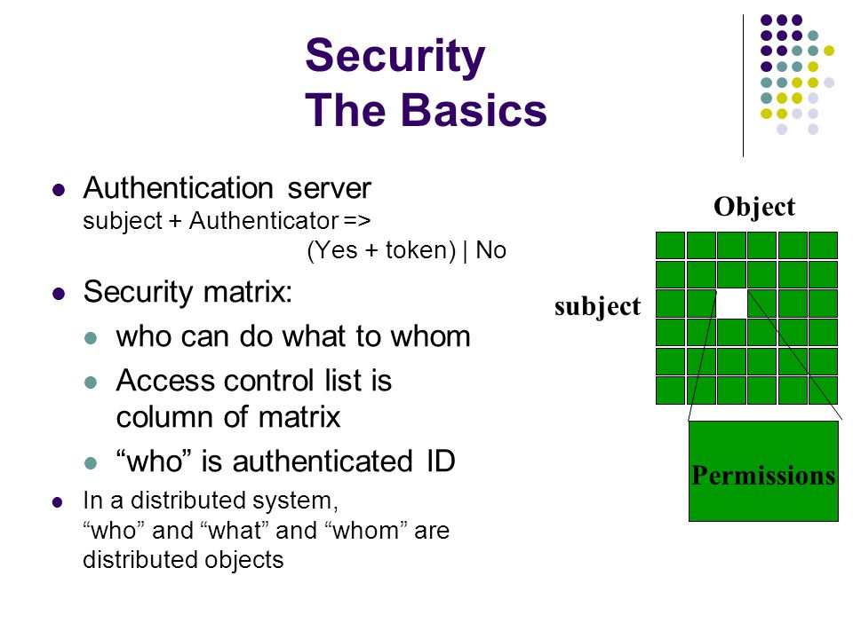 Security The Basics Authentication server subject + Authenticator => (Yes + token) | No Security matrix: who can do what to whom Access control list is column of matrix who is authenticated ID In a distributed system, who and what and whom are distributed objects subject Object Permissions