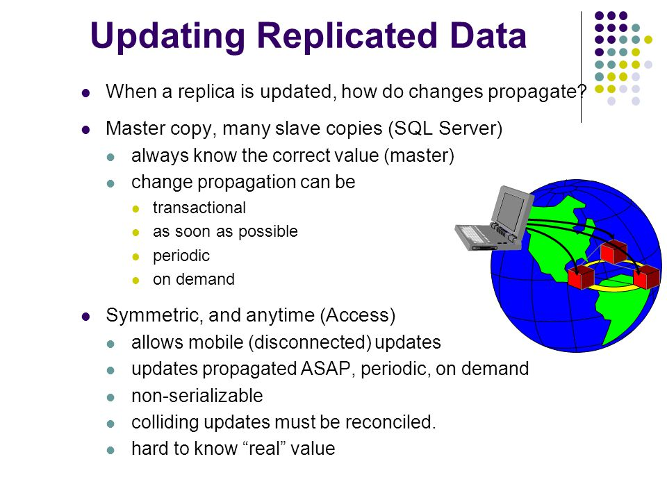 Updating Replicated Data When a replica is updated, how do changes propagate.