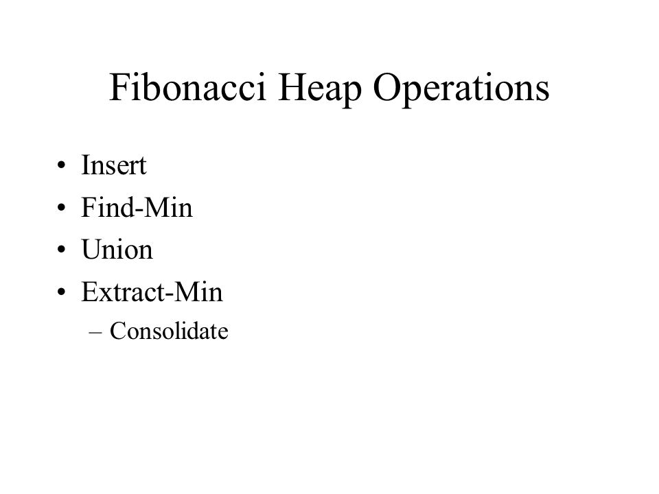 Fibonacci Heap Operations Insert Find-Min Union Extract-Min –Consolidate