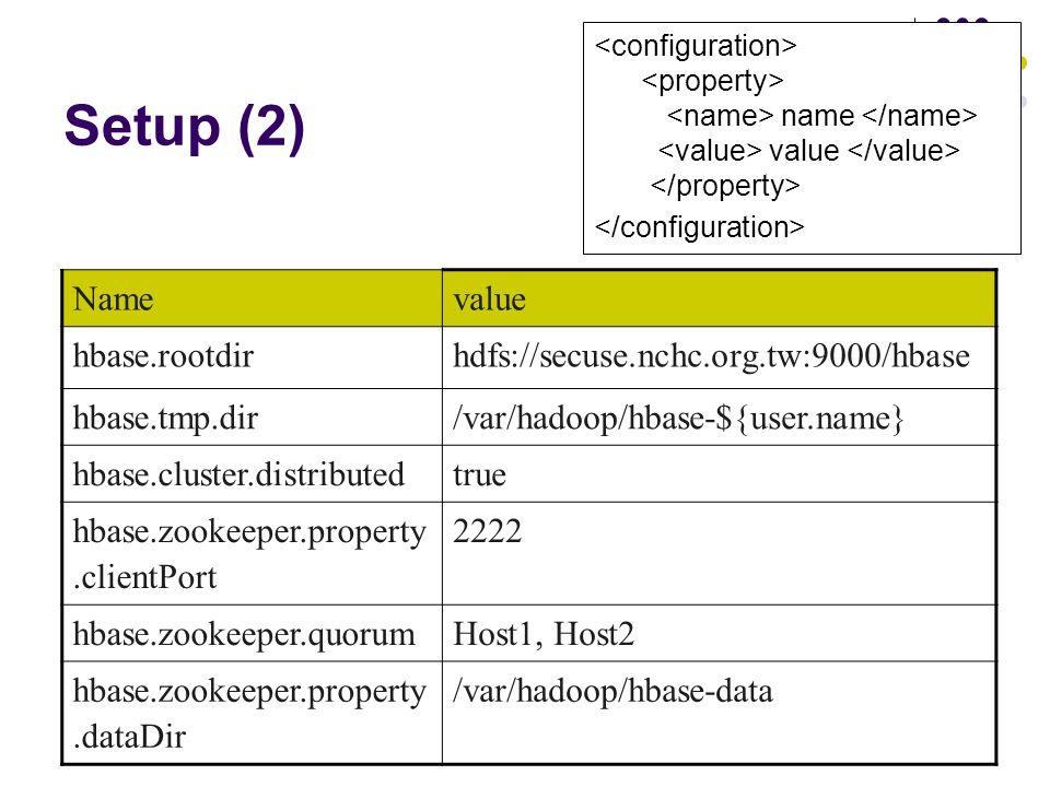 Setup (2) name value Namevalue hbase.rootdirhdfs://secuse.nchc.org.tw:9000/hbase hbase.tmp.dir/var/hadoop/hbase-${user.name} hbase.cluster.distributed