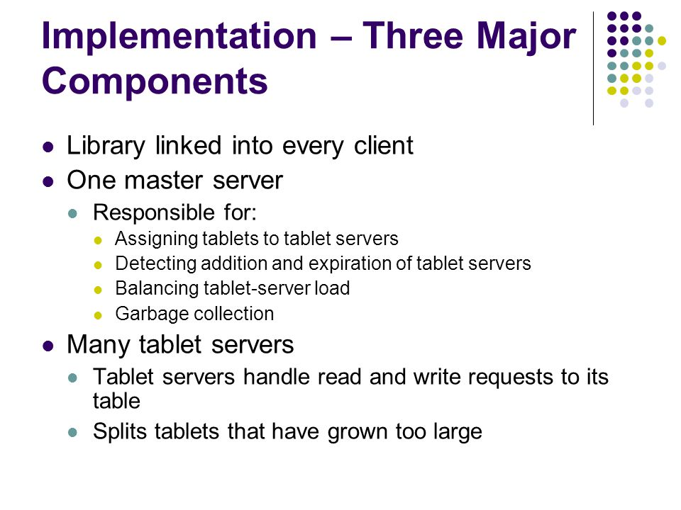 Implementation – Three Major Components Library linked into every client One master server Responsible for: Assigning tablets to tablet servers Detecting addition and expiration of tablet servers Balancing tablet-server load Garbage collection Many tablet servers Tablet servers handle read and write requests to its table Splits tablets that have grown too large