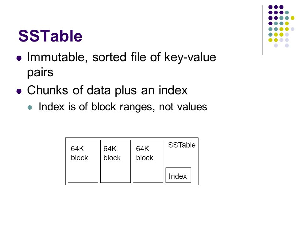 SSTable Immutable, sorted file of key-value pairs Chunks of data plus an index Index is of block ranges, not values Index 64K block SSTable