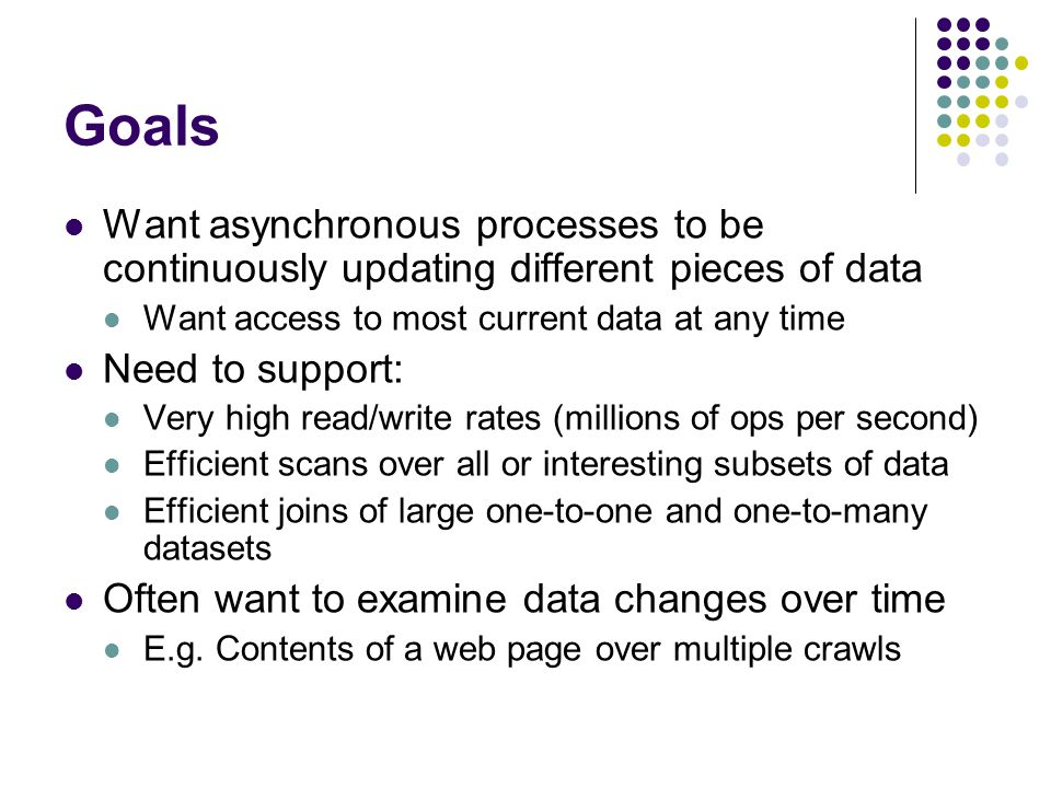 Goals Want asynchronous processes to be continuously updating different pieces of data Want access to most current data at any time Need to support: Very high read/write rates (millions of ops per second) Efficient scans over all or interesting subsets of data Efficient joins of large one-to-one and one-to-many datasets Often want to examine data changes over time E.g.