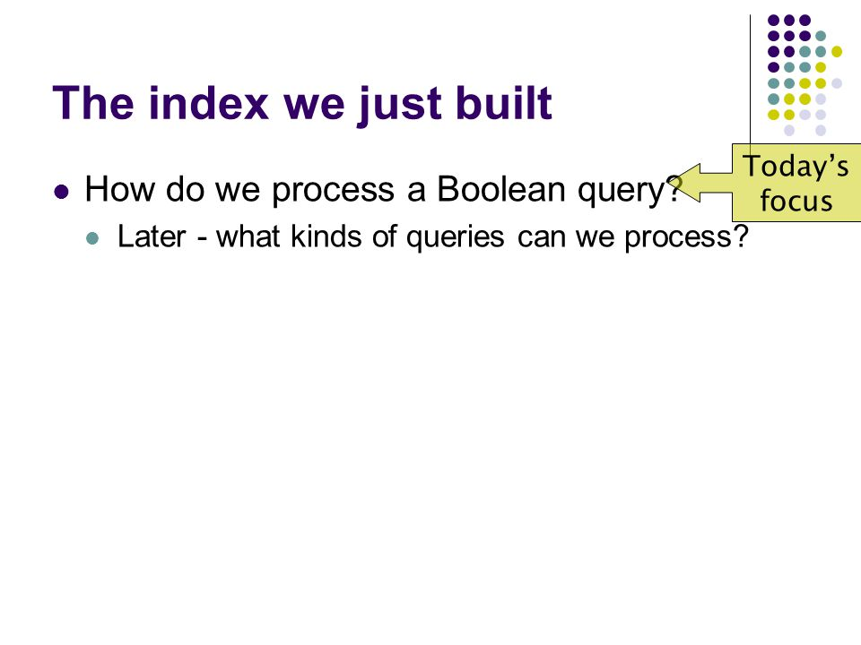 The index we just built How do we process a Boolean query.