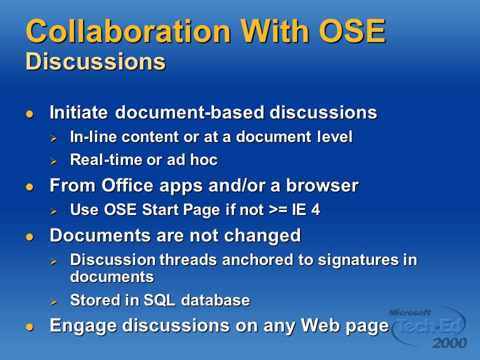 Collaboration With OSE Discussions Initiate document-based discussions Initiate document-based discussions  In-line content or at a document level 