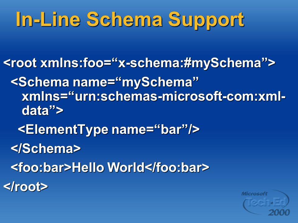 In-Line Schema Support Hello World Hello World </root>