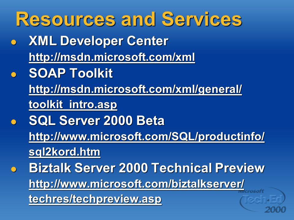 Resources and Services XML Developer Center XML Developer Centerhttp://msdn.microsoft.com/xml SOAP Toolkit SOAP Toolkithttp://msdn.microsoft.com/xml/general/toolkit_intro.asp SQL Server 2000 Beta SQL Server 2000 Betahttp://www.microsoft.com/SQL/productinfo/sql2kord.htm Biztalk Server 2000 Technical Preview Biztalk Server 2000 Technical Previewhttp://www.microsoft.com/biztalkserver/techres/techpreview.asp