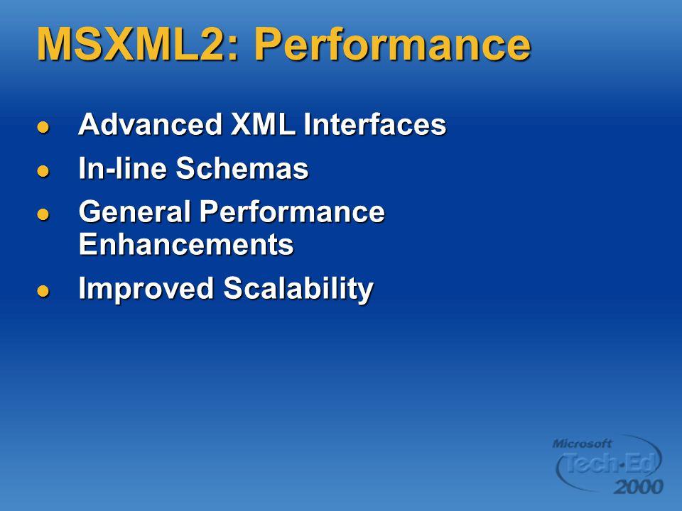 MSXML2: Performance Advanced XML Interfaces Advanced XML Interfaces In-line Schemas In-line Schemas General Performance Enhancements General Performance Enhancements Improved Scalability Improved Scalability
