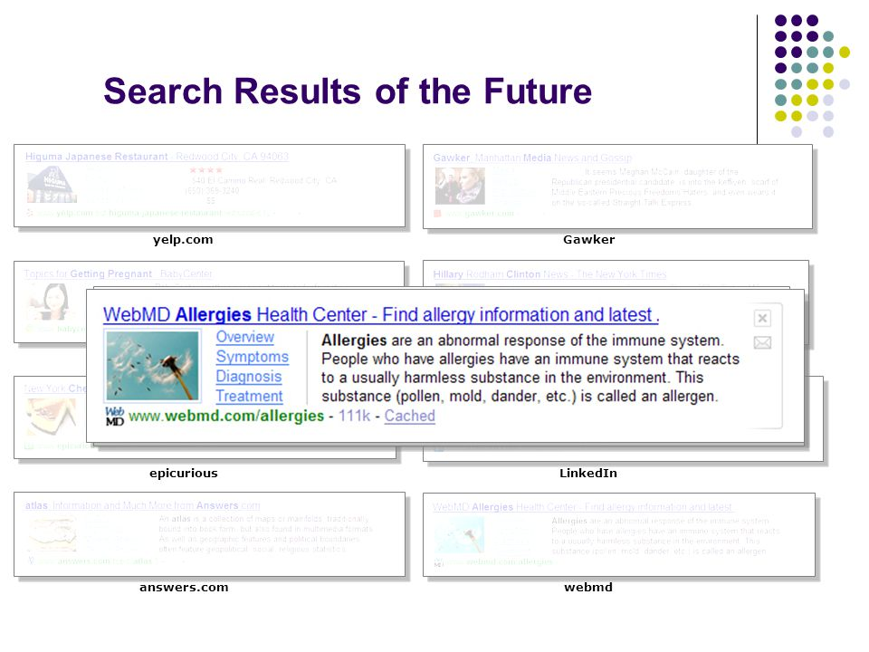 babycenter epicurious Search Results of the Future yelp.com answers.com LinkedIn webmd Gawker New York Times