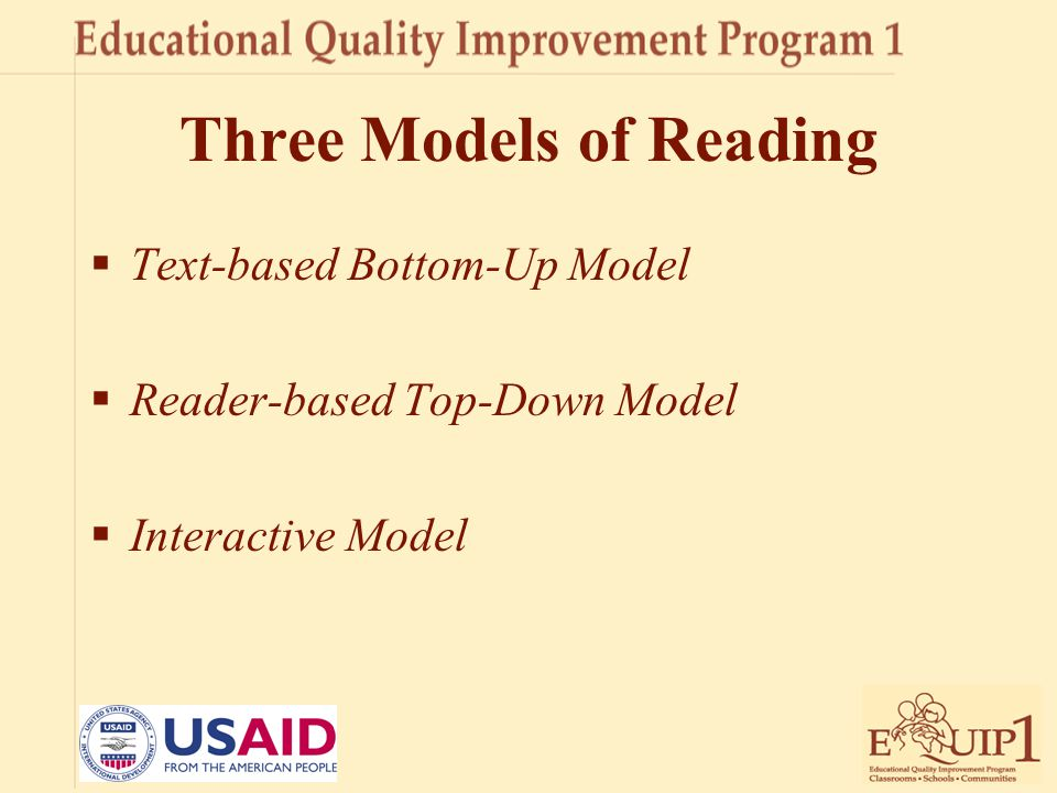 Three Models of Reading  Text-based Bottom-Up Model  Reader-based Top-Down Model  Interactive Model