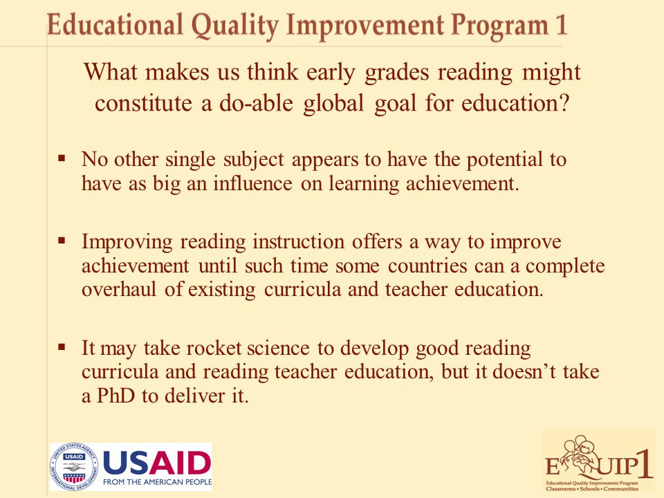 For more information on EQUIP1 Please contact: John Hatch jhatch@usaid.gov jhatch@usaid.gov Jane Benbow jbenbow@air.org
