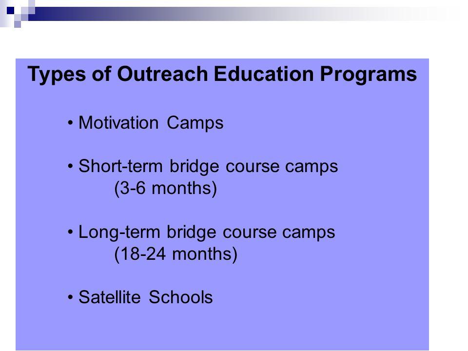 Types of Outreach Education Programs Motivation Camps Short-term bridge course camps (3-6 months) Long-term bridge course camps (18-24 months) Satelli