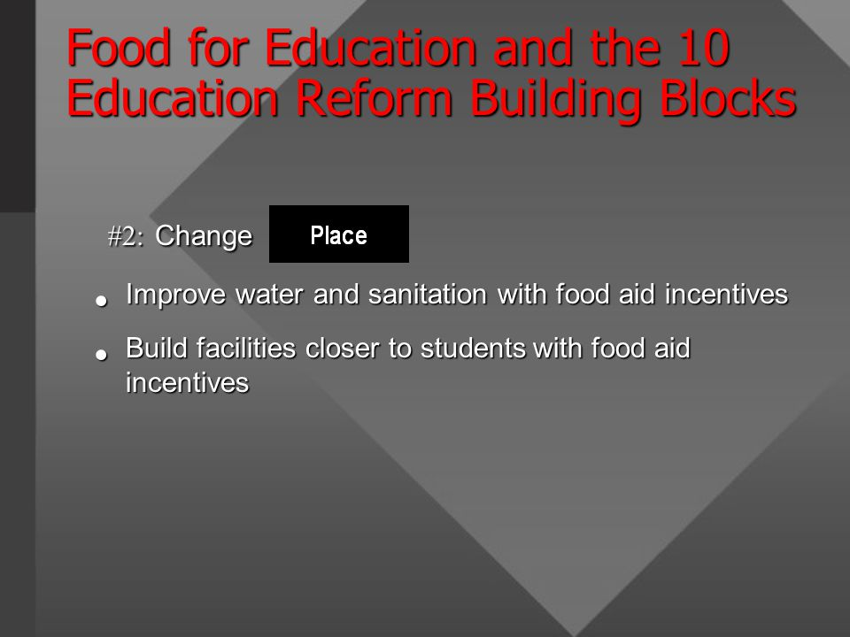 Food for Education and the 10 Education Reform Building Blocks #2: Change #2: Change Improve water and sanitation with food aid incentives Improve water and sanitation with food aid incentives Build facilities closer to students with food aid incentives Build facilities closer to students with food aid incentives