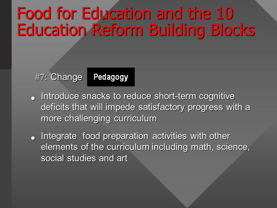 Food for Education and the 10 Education Reform Building Blocks #7: Change #7: Change Introduce snacks to reduce short-term cognitive deficits that will impede satisfactory progress with a more challenging curriculum Introduce snacks to reduce short-term cognitive deficits that will impede satisfactory progress with a more challenging curriculum Integrate food preparation activities with other elements of the curriculum including math, science, social studies and art Integrate food preparation activities with other elements of the curriculum including math, science, social studies and art