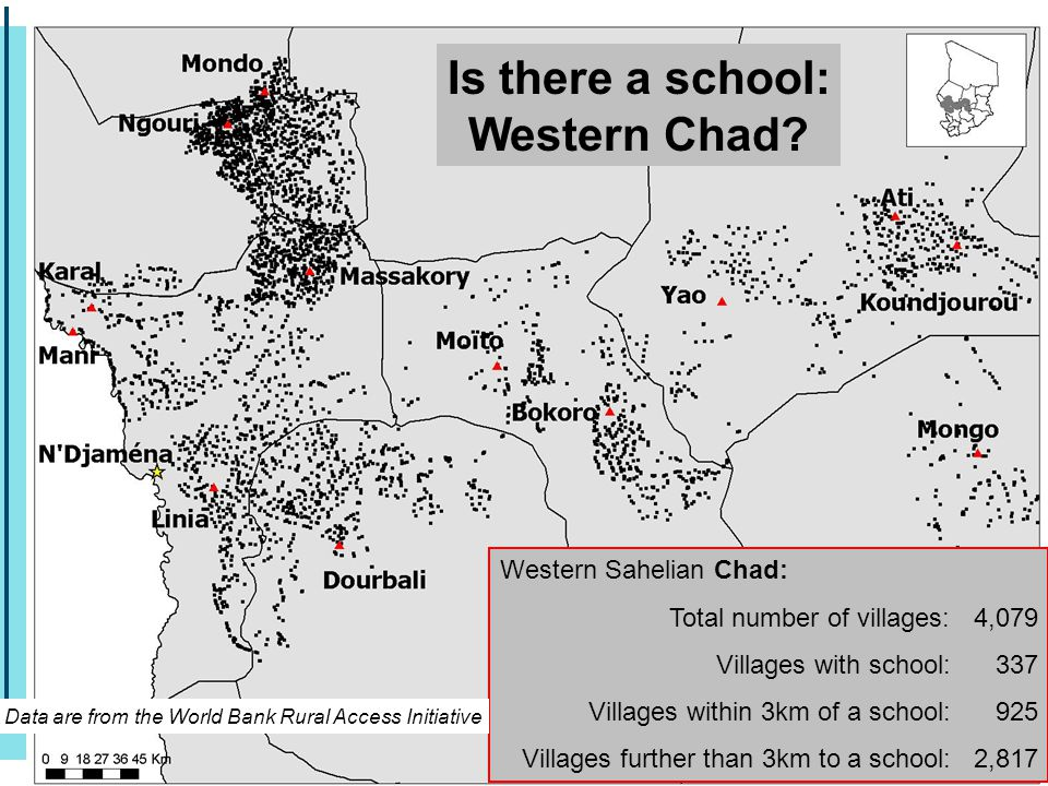 Western Sahelian Chad: Total number of villages: 4,079 Villages with school: 337 Villages within 3km of a school: 925 Villages further than 3km to a school: 2,817 Is there a school: Western Chad.