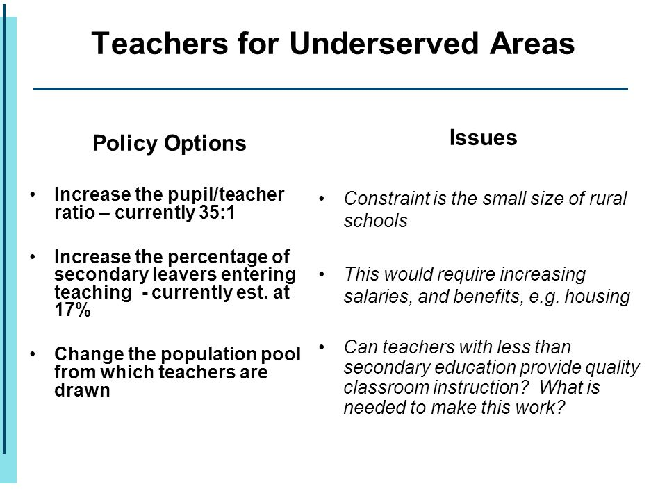 Policy Options Increase the pupil/teacher ratio – currently 35:1 Increase the percentage of secondary leavers entering teaching - currently est. at 17