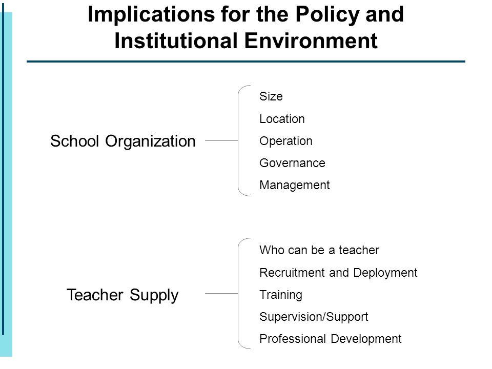 Implications for the Policy and Institutional Environment School Organization Teacher Supply Size Location Operation Governance Management Who can be a teacher Recruitment and Deployment Training Supervision/Support Professional Development
