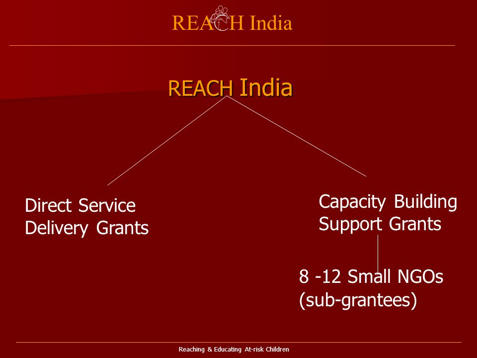 Reaching & Educating At-risk Children REA H India Direct Service Delivery Grants Capacity Building Support Grants Small NGOs (sub-grantees) REACH India