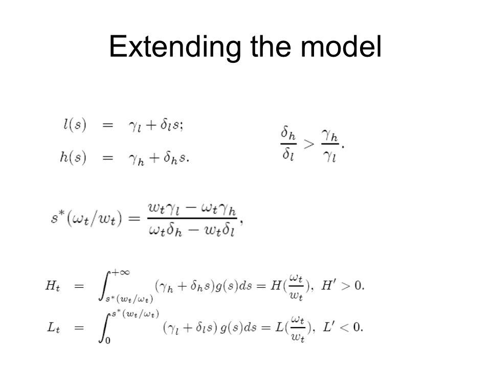 Extending the model