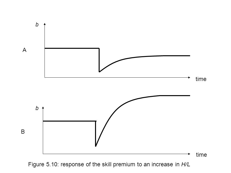 A B time Figure 5.10: response of the skill premium to an increase in H/L b b