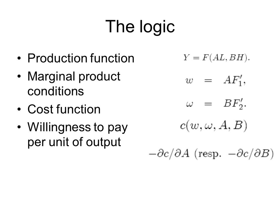 The logic Production function Marginal product conditions Cost function Willingness to pay per unit of output
