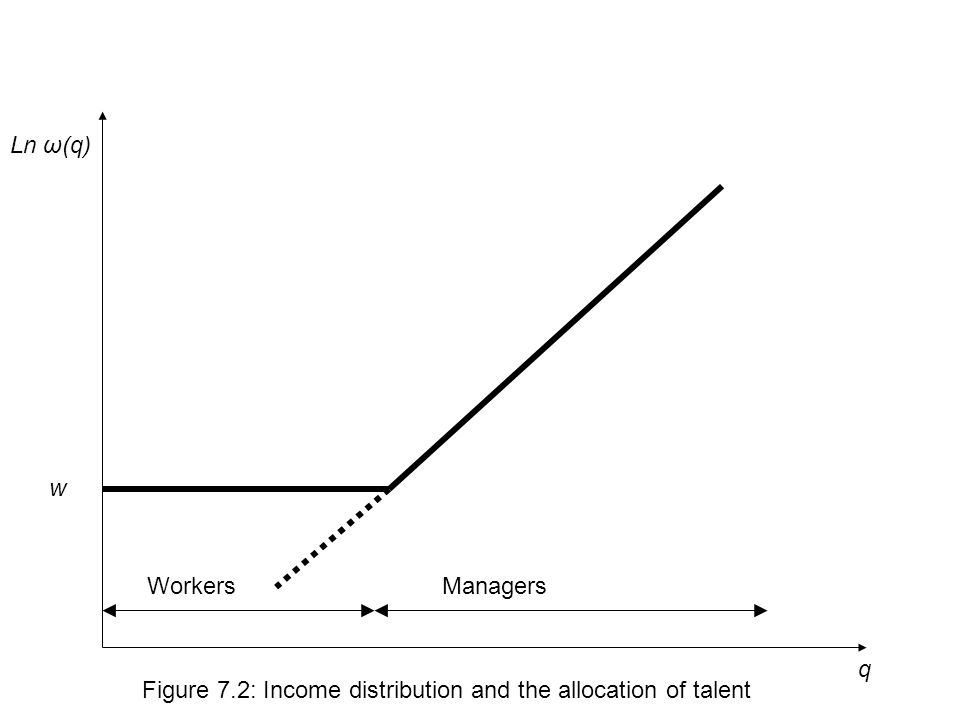 q Ln ω(q) Figure 7.2: Income distribution and the allocation of talent w WorkersManagers