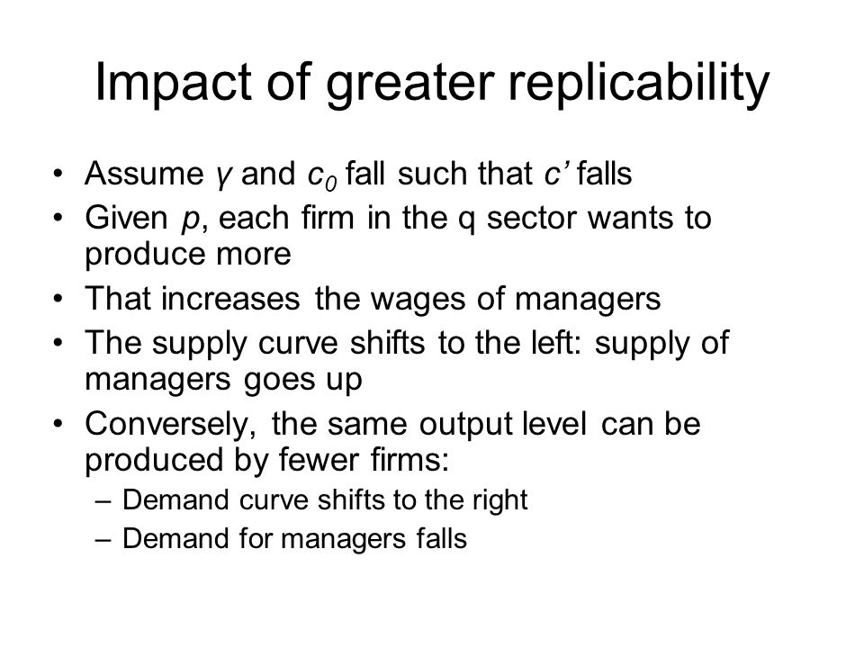 Impact of greater replicability Assume γ and c 0 fall such that c' falls Given p, each firm in the q sector wants to produce more That increases the wages of managers The supply curve shifts to the left: supply of managers goes up Conversely, the same output level can be produced by fewer firms: –Demand curve shifts to the right –Demand for managers falls