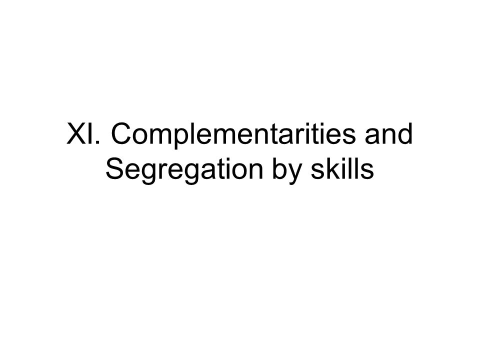 XI. Complementarities and Segregation by skills