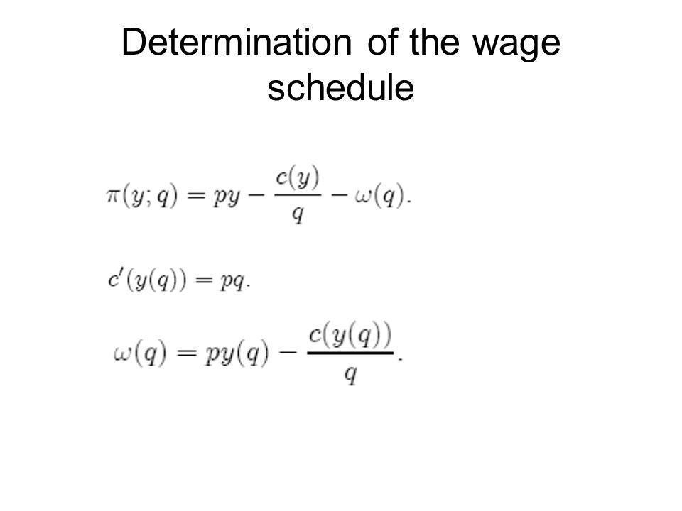 Determination of the wage schedule