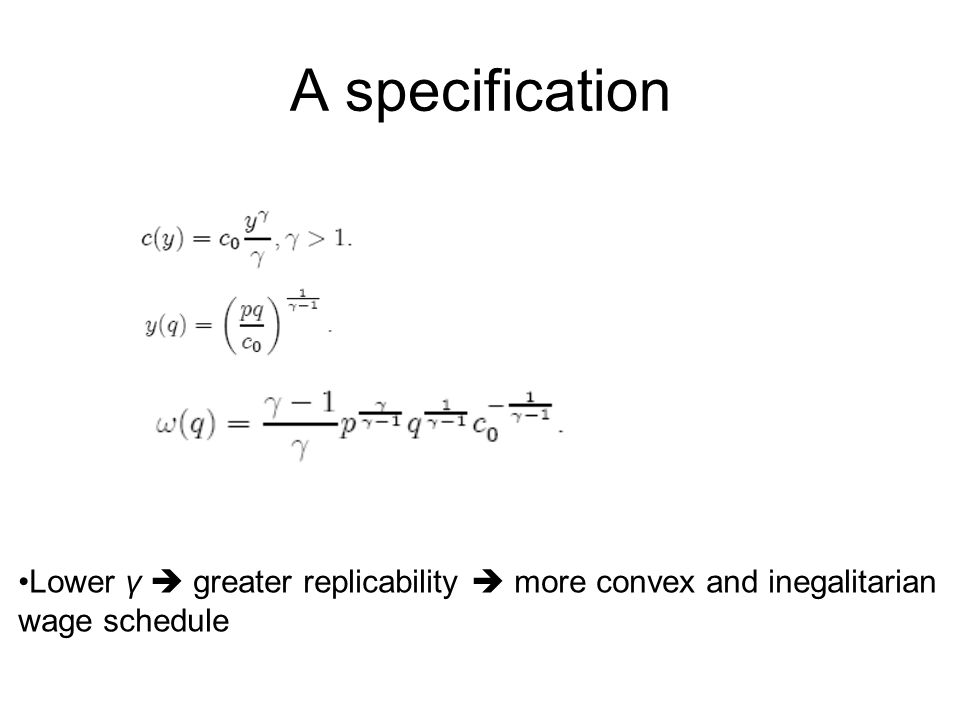 A specification Lower γ  greater replicability  more convex and inegalitarian wage schedule