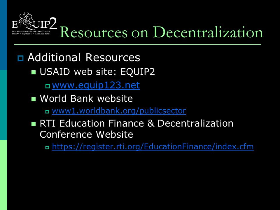 Implementing Education Decentralization  Three countries: Peru [Fernando Bolaños] Uganda [David Bruns] Zambia [Cornelius Chipoma]  Three questions: Country setting and status of decentralization.