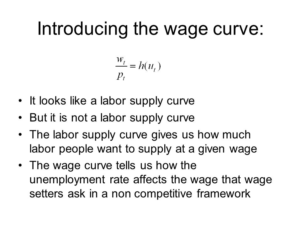 Introducing the wage curve: It looks like a labor supply curve But it is not a labor supply curve The labor supply curve gives us how much labor people want to supply at a given wage The wage curve tells us how the unemployment rate affects the wage that wage setters ask in a non competitive framework