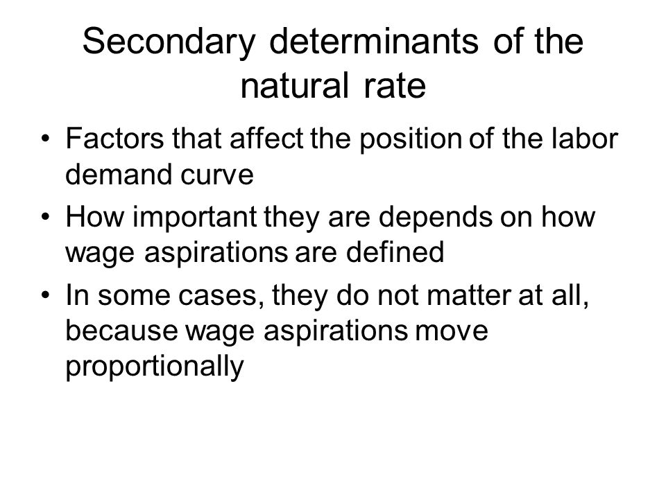 Secondary determinants of the natural rate Factors that affect the position of the labor demand curve How important they are depends on how wage aspirations are defined In some cases, they do not matter at all, because wage aspirations move proportionally