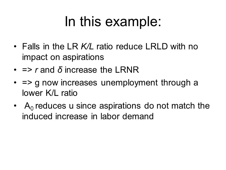 In this example: Falls in the LR K/L ratio reduce LRLD with no impact on aspirations => r and δ increase the LRNR => g now increases unemployment through a lower K/L ratio A 0 reduces u since aspirations do not match the induced increase in labor demand