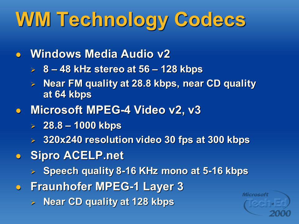 WM Technology Codecs Windows Media Audio v2 Windows Media Audio v2  8 – 48 kHz stereo at 56 – 128 kbps  Near FM quality at 28.8 kbps, near CD qualit