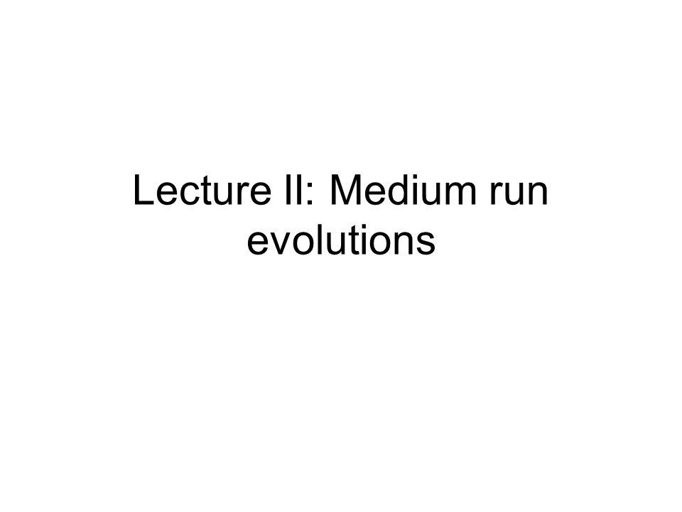 Lecture II: Medium run evolutions