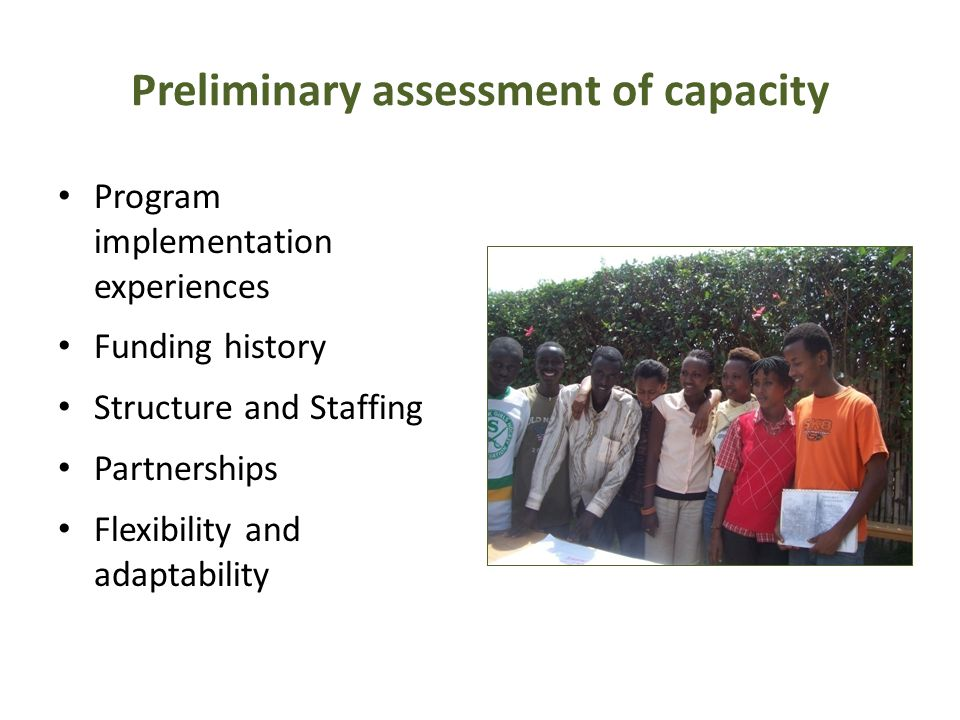 Preliminary assessment of capacity Program implementation experiences Funding history Structure and Staffing Partnerships Flexibility and adaptability