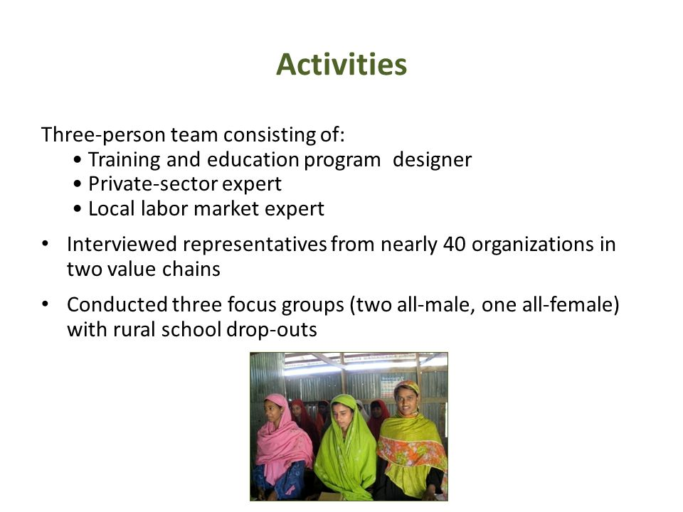 Activities Three-person team consisting of: Training and education program designer Private-sector expert Local labor market expert Interviewed representatives from nearly 40 organizations in two value chains Conducted three focus groups (two all-male, one all-female) with rural school drop-outs