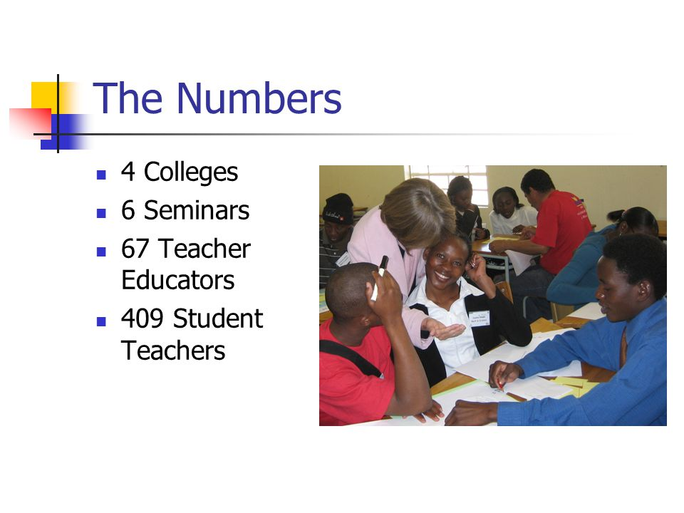 More numbers 7 MCID Consultants 5 UNAM Consultants 4 AED Consultants 7 BES 3 Advisors 4 NIED Officers 6 MOE Officials