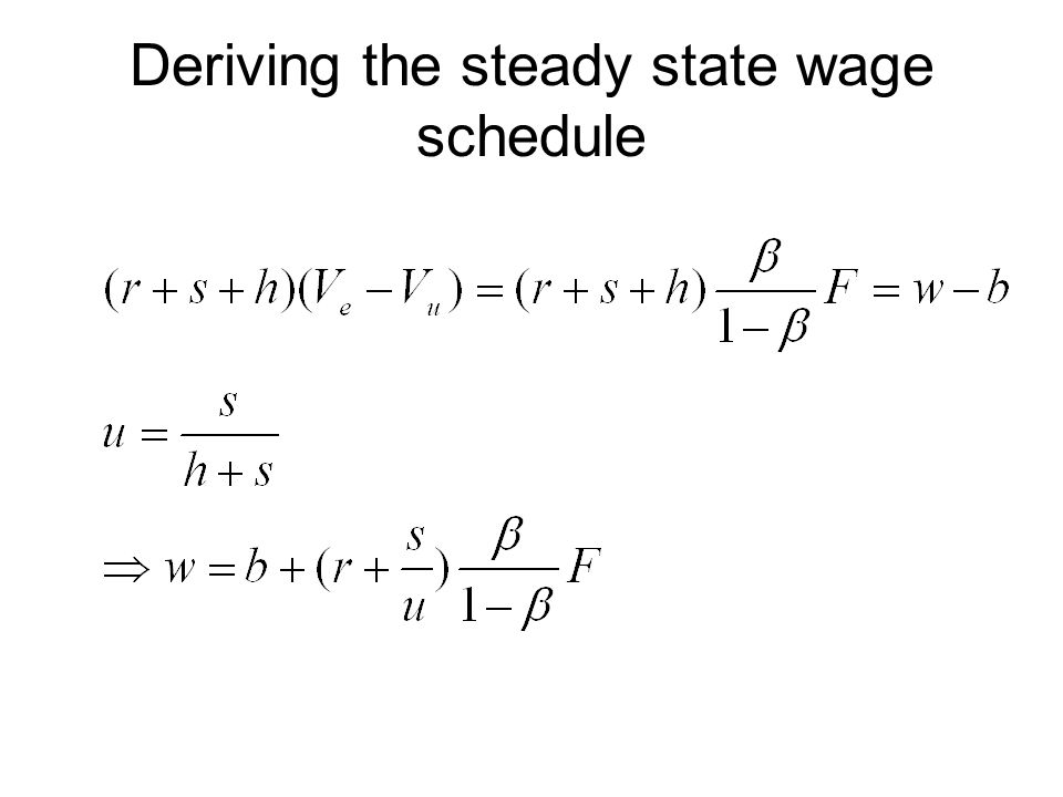 Deriving the steady state wage schedule