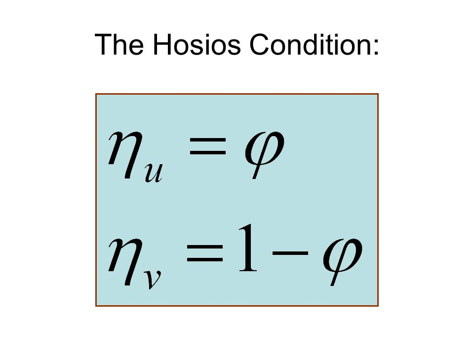 The Hosios Condition: