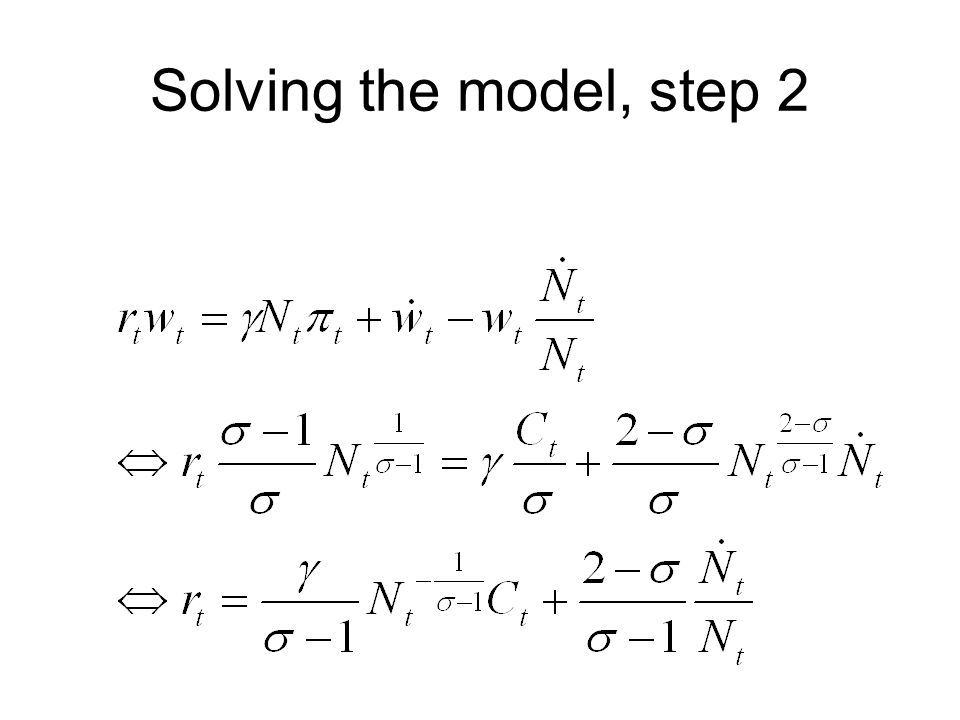 Solving the model, step 2
