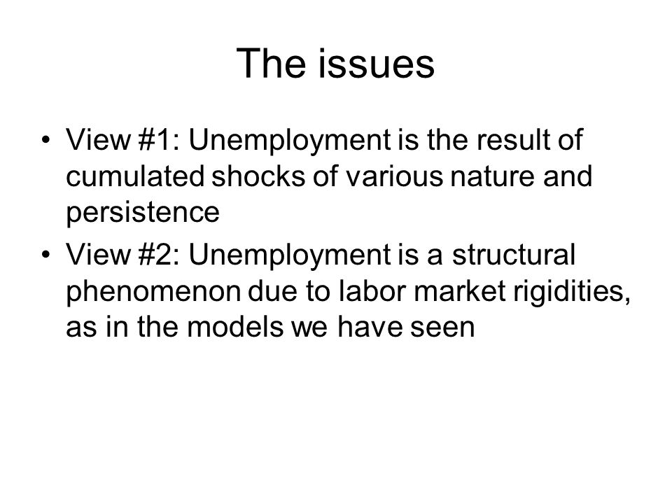 The issues View #1: Unemployment is the result of cumulated shocks of various nature and persistence View #2: Unemployment is a structural phenomenon