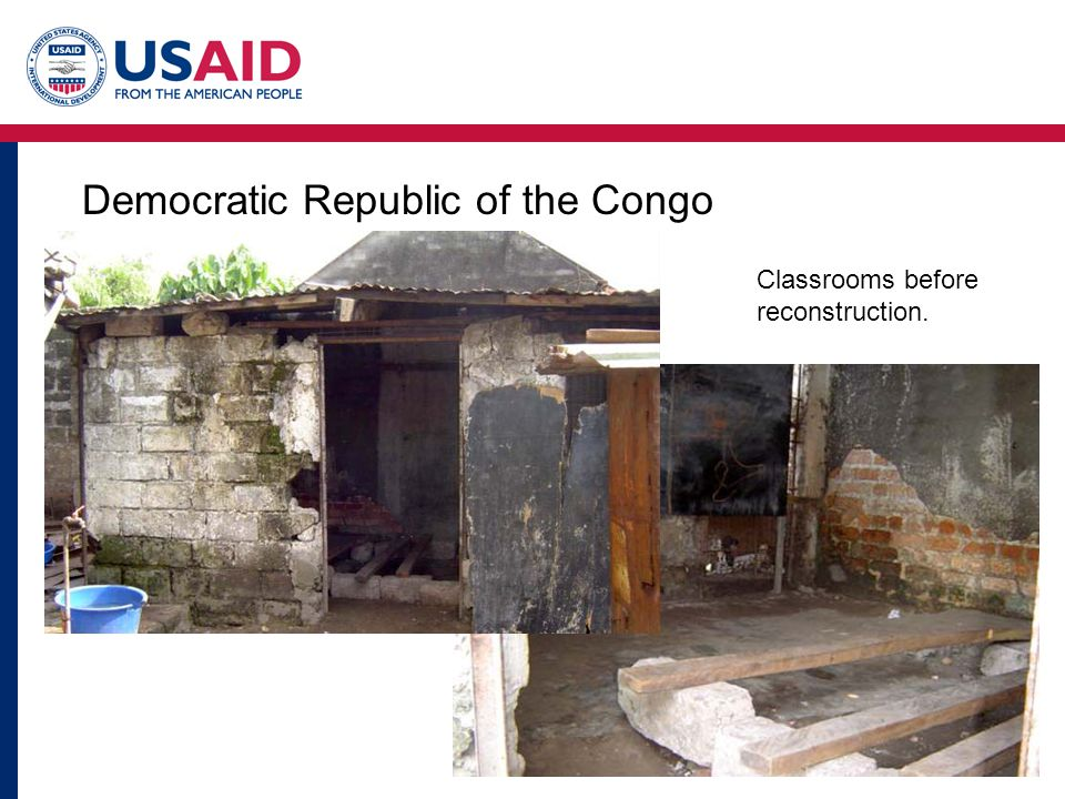 Democratic Republic of the Congo Classrooms before reconstruction.