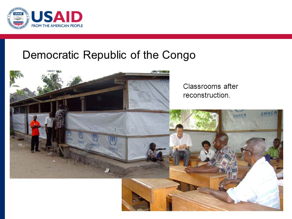 Democratic Republic of the Congo Classrooms after reconstruction.